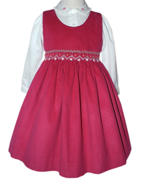 Girls Fuchsia Pinwale corduroy jumper with white blouse