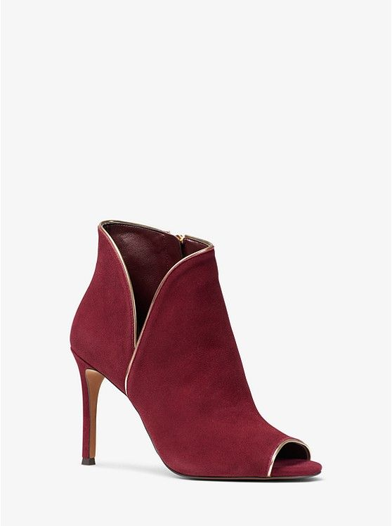 ae2fa1b55 MICHAEL KORS Harper Suede Open-Toe Ankle Boot in Oxblood Red ~ Today's  Fashion Item