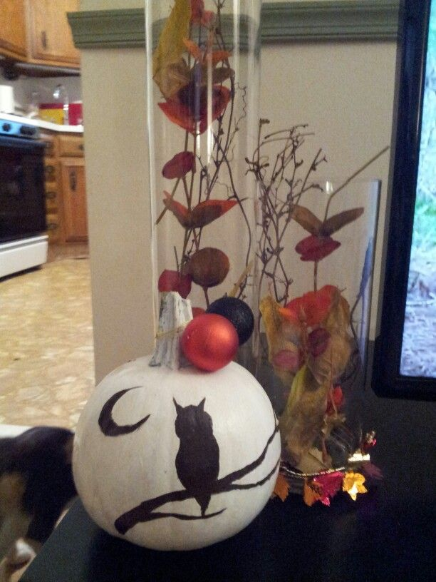 Fall; owl pumpkin & twig & leaf filled Vases.