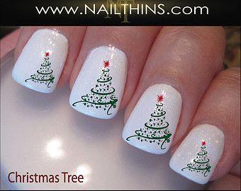 Christmas Swirl Nail Decals Holiday Tree Nail Design, Nail Art