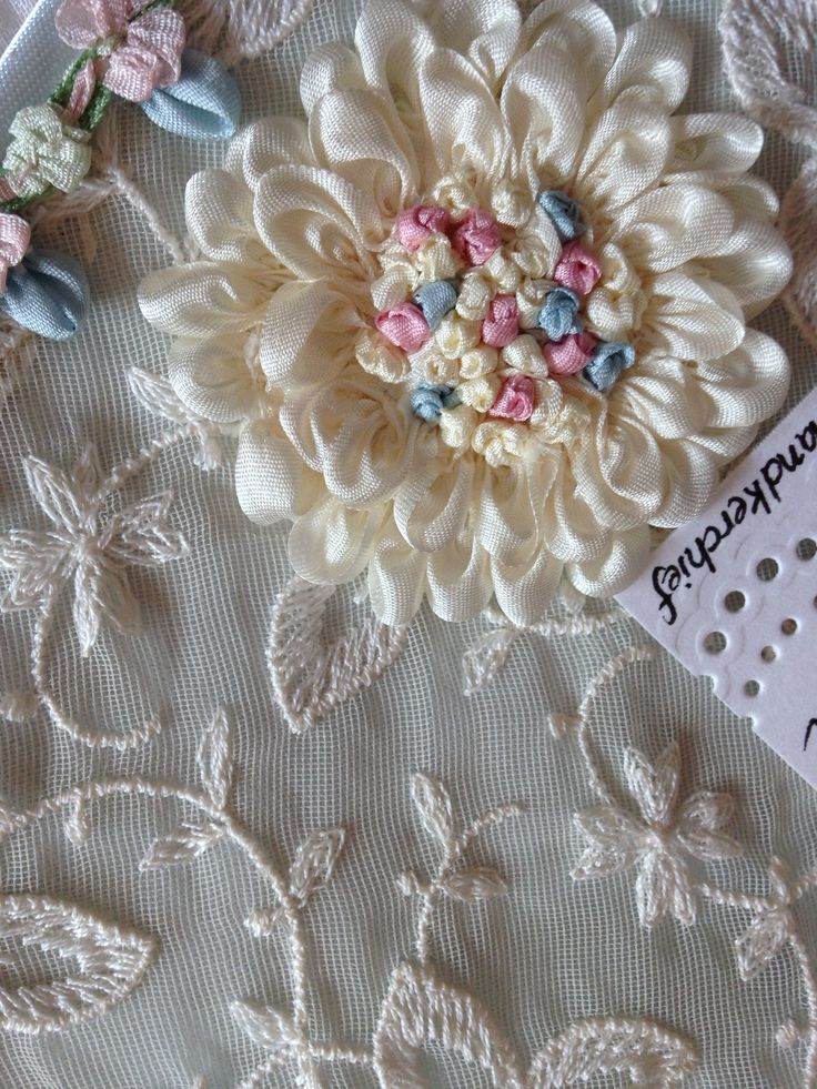 Silk ribbon flower with french knots by kathleen