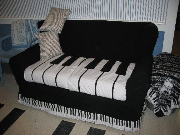 piano couch in studio (slip cover)
