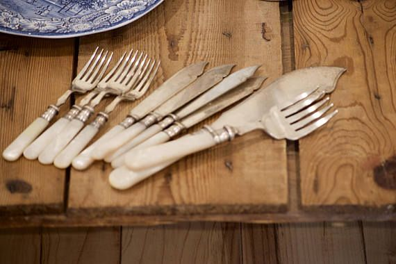 Silverplate Fish Knives & Forks Cutlery Set with Master Knife and ForkEPNS Flatware Wedding / Housewarming /  Christmas Tabletop Gift by VintageFlicker