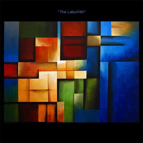 Originales pinturas de arte abstracto por Osnat - pintura geométrica azul