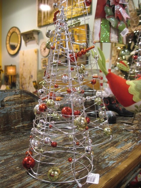 Wire Christmas trees with beads.