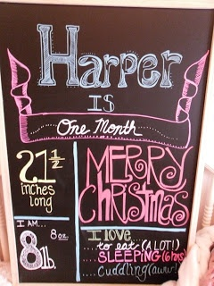 Harper's one month chalkboard! #newborn #photography