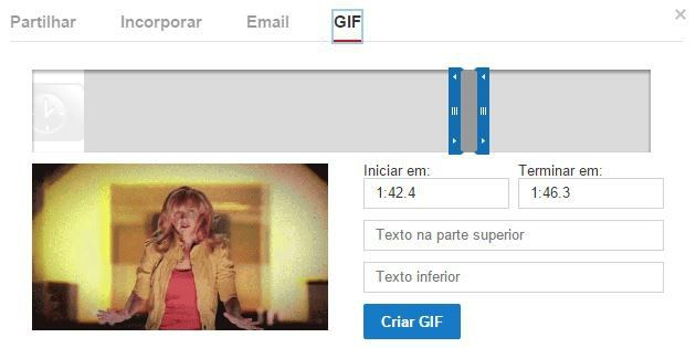 Youtube possibilita criar GIF dos videos