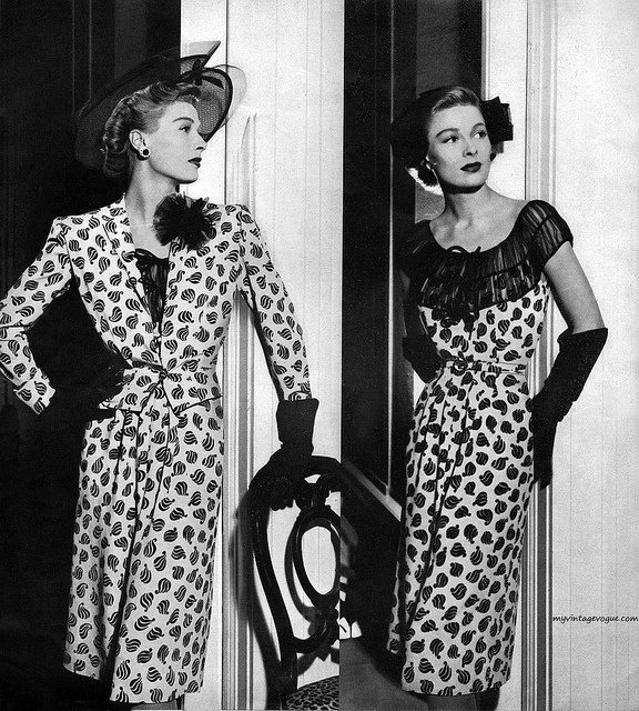 40's Siren suits, IN A PRINT.  (1944 Neimen Marcus catalog)