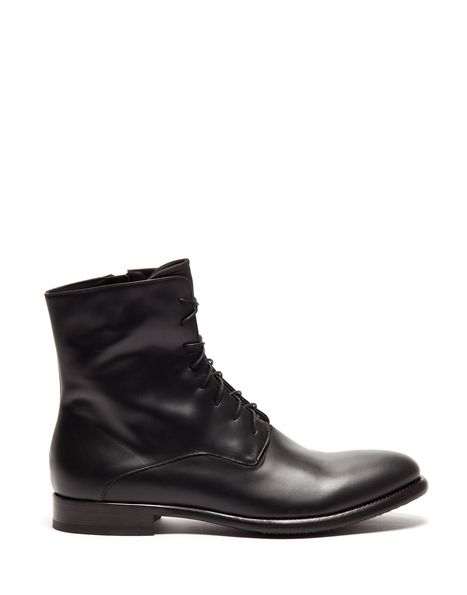 FROG LACE-UP BOOTS IN LEATHER - Shoes Man - Alberto Guardiani