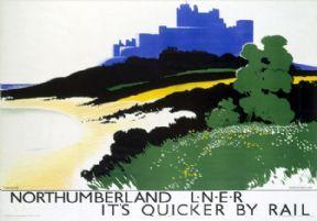 Northumberland, Bamburgh Castle. LNER Vintage Travel Poster by Tom Purvis