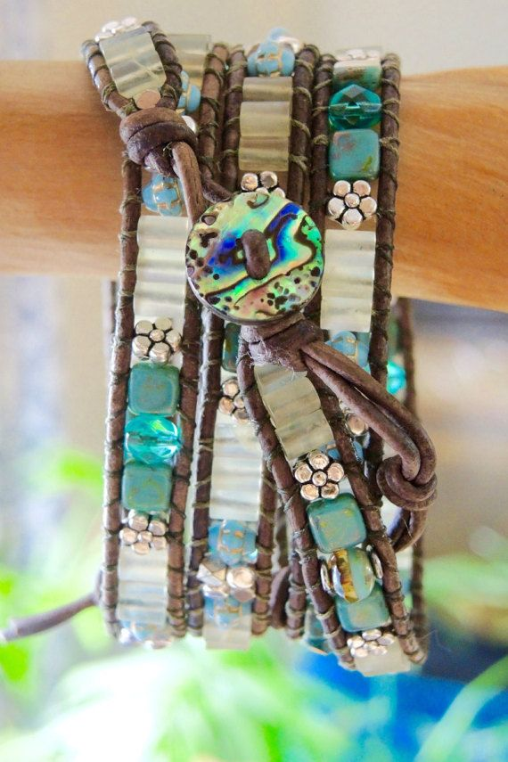 Designed and Hand-crafted in North Carolina USA by myself  Unisex 3-4-5 Wrap Bracelet or ANKLE BRACELET, HAIR WRAP, BELT, etc. BEACH