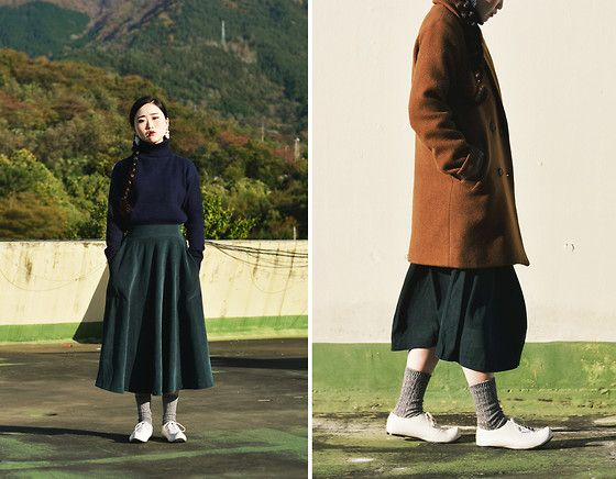 Phila Petra Roll Neck Knitted Top, Phila Petra Velvet Long Skirt, Phila Petra Double Button Coat, Flat Apartment Korean Traditional Shoes