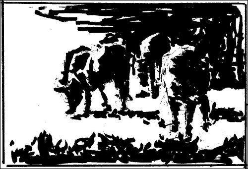 Notan Drawing of Cows