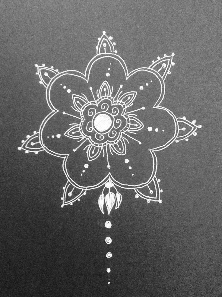 mandalas designs:   black card | white pen