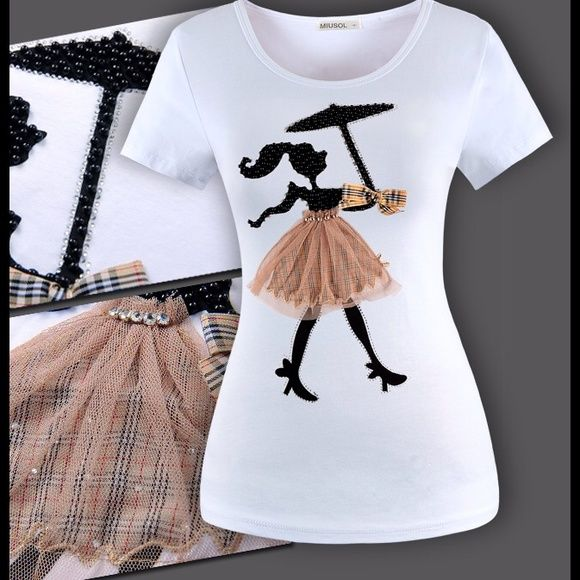 Host Pick 4/12 TSHIRT omg this t shirt is adorable!  she is dressed to the nines!  Burberry style tulle skirt, pearl body with diamond belt and taffeta bow!  top quality cotton lycra mix material for shirt itself defiantly needs to be dry cleaned or washed by hand nwt.  This shirt is no longer for sale I decided to keep it because it is soooo adorable and I couldn't find it again.  But I kept the listing because it was chosen as Host Pick! Tops