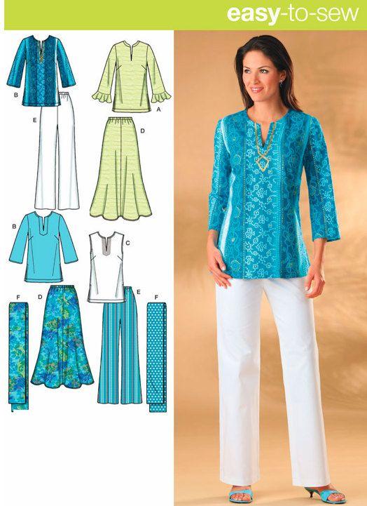 TALLA patrón de costura falda pantalón túnica y por patterns4you
