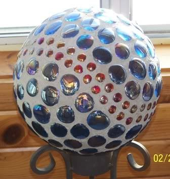 Garden Junk - Pics of finished (finally grouted) bowling balls