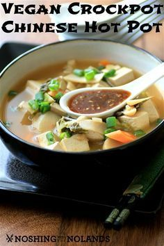 Vegan Crockpot Chinese Hot Pot ~ This soup is hearty and full of vegetables and firm tofu - a filling and satisfying vegan meal! ~ from Noshing With The Nolands