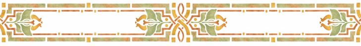 Arts & Crafts / Craftsman Style Stencil: REBECCA. Available in one size; Suggested Paintstik® colors and stencil brush sizes used in above sample follow dimensions.  $38.50    5.5″ x 24.25″ - Burnt Sienna, 1/2″ brush; Yellow Ochre, 1/2″ brush; Celadon Green, 3/4″ brush