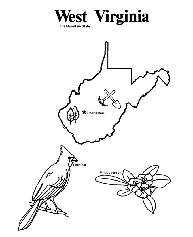 virginia state map coloring pages | West Virginia State outline Coloring Page | Map of west ...