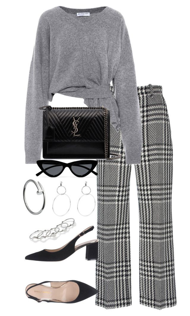 """Untitled #5115"" by theeuropeancloset ❤ liked on Polyvore featuring Zuhair Murad, Balenciaga, Yves Saint Laurent, Le Specs and MANIAMANIA"