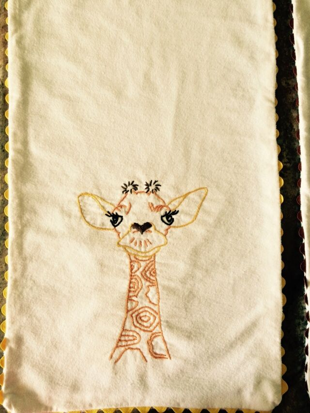 Another giraffe burp cloth.  I think he is so cute.