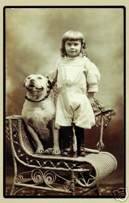 Vintage photo of child with pit bull from http://twolittlecavaliers.com/2012/01/vintage-pit-bull-photos.html