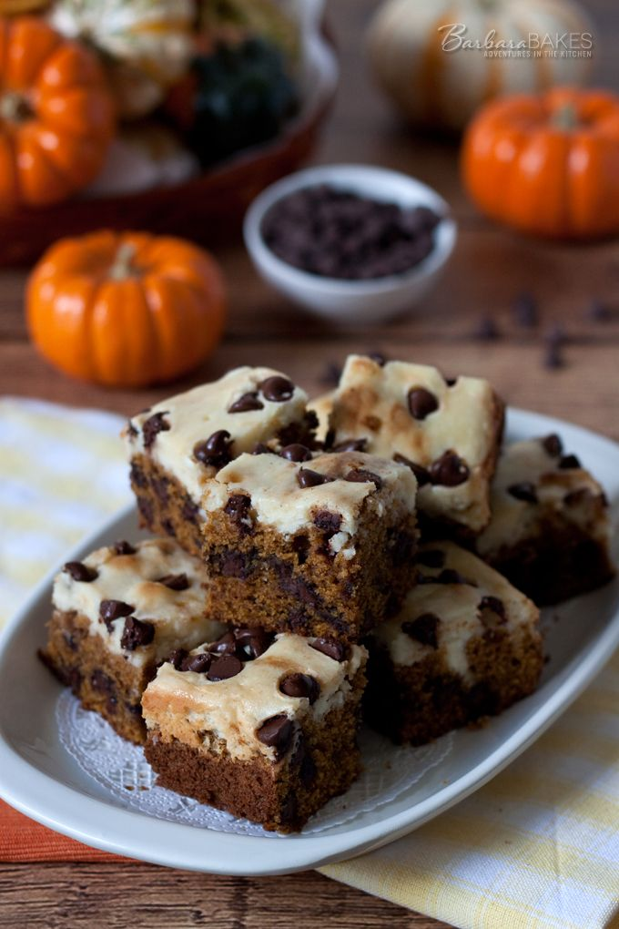 Fudgy, decadent Pumpkin Chocolate Chip Cheesecake Bars - recipe from Barbara Bakes
