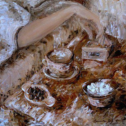 Картина. Кофе. Признание в любви. Масло, холст, 40х40 см.. Авторская картина 'Кофе' (масло, холст, 40 см. на 40 см., покрытие картины защитным лаком!)    Кофе для любимой... Горячее чувство... Признание...    'Мысли на холсте' Ершова…