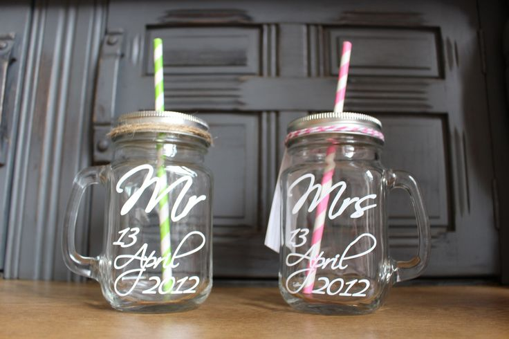 A personalised hand finished Mason Jar. A perfect gift for those special occasions.   Personalisation can include:   Initials Memorable dates   These Jars are lovely individually, or perfect in pairs!