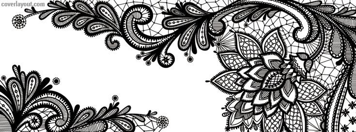 Black Lace Flower Facebook Cover coverlayout.com