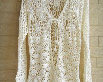 Tie Front Crochet Boho Cardigan Long Sleeve Women Blouse