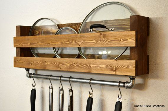 Add a touch of country style to your kitchen. This pot and lid rack mounts to the wall freeing up cabinet space. A 24 cast iron bar is firmly