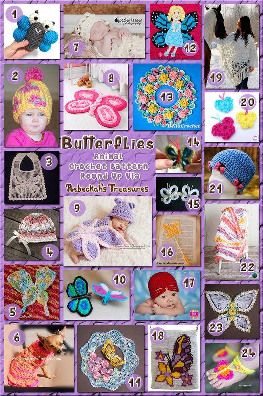 Butterflies - Animal Crochet Pattern Round Up via @beckastreasures༺✿ƬⱤღ  http://www.pinterest.com/teretegui/✿༻