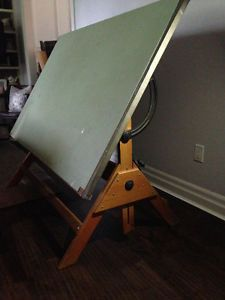 Vintage Wooden Drafting Table Adjustable Height