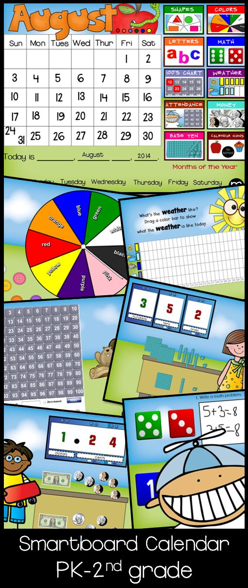 Smartboard Calendar 'Sunny Day' for Circle/Meeting/Carpet Time Common Core Your students will be so excited when they use the Circle Time Calendar. This calendar is in sunny day theme. Whether you call this Morning Time, Circle Time, Carpet Time, Meeting Time, this calendar is fun, interactive, and educational.  Year long calendar includes shapes, colors, letters, math, 100s chart, weather, attendance, money, base ten and more. $