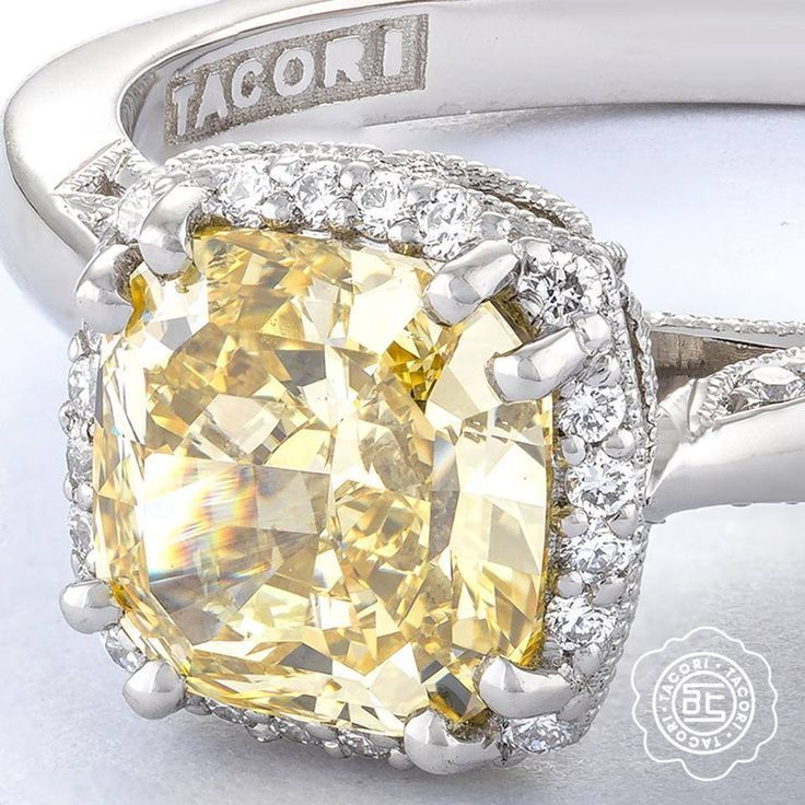 Canary Yellow Diamond In Halo Vintage Inspired Engagement Ring By Tacori Diamond Engagement Rings Vintage Tacori Engagement Rings Diamond Engagement Ring Set