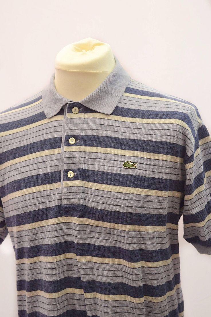 Its only a casual classic: Lacoste polo shirt. dark blue, grey, light horizontal stripes. 3 button. size 5 http://etsy.me/2FfXtPU #mensclothing #vintagemen #poloshirt #lacoste #crocodile #casual #terraces #80s