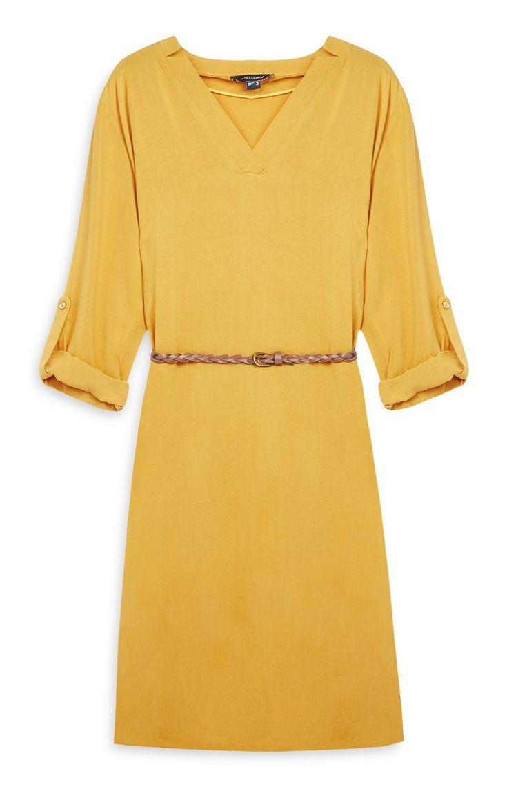 Primark - Vestido camisero amarillo con cinturón