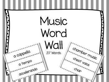 Music Word Wall:  this item was created to use for a visual aid in your music classroom.  In this packet you will receive....*217 musical vocabulary terms with heading in B&W for easier printing!ENJOY!