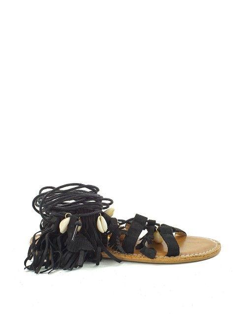 Πέδιλα lace up με κρόσσια και κοχύλια - Μαύρο 44,99 €