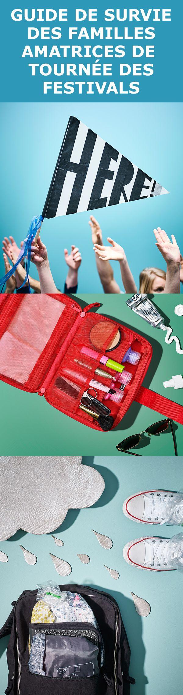 Les shows de l'été sont attirants mais un brin de préparation peut aider à limiter certains pépins possibles (et éviter les coups de soleil). En cas de pluie, sortez votre poncho KNALLA. Tout léger et facile à transporter, il convient à tous. Et quand le soleil est au rendez-vous, glissez tous vos accessoires dans notre sac FÖRFINA. Son format est idéal pour y glisser le dentifrice, la trousse de premiers soins et autres menus articles.