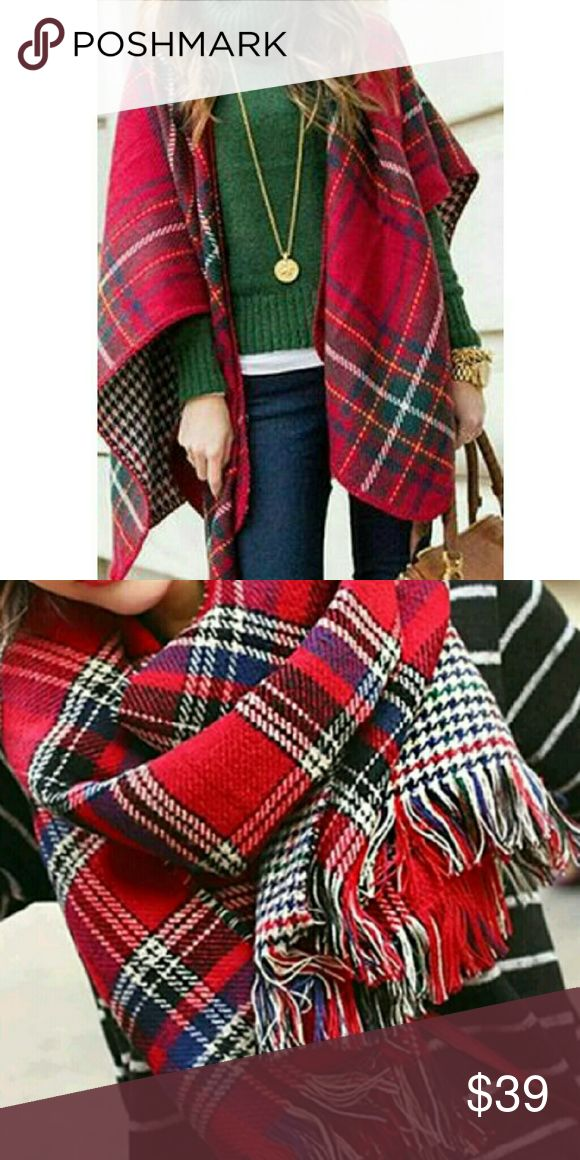 ⭐Luxurious Reversible Plaid Blanket Wrap Scarf ♡ Must-Have Fall/Winter Wardrobe Staple ♡  Wrap yourself up in this luxurious reversible plaid blanket scarf. Fall/winter style must have.. Best Seller!  Customer Favorite Rated 5⭐'s   Chic Red Plaid Ultra Soft/Plush Cashmere esque  Super Cozy & Warm 100% Ultra Soft Acrylic  Top Quality New in package  ▪ Price is Firm  ▪ No Trades  ▪ Fast Shipping Moda Ragazza  Accessories Scarves & Wraps