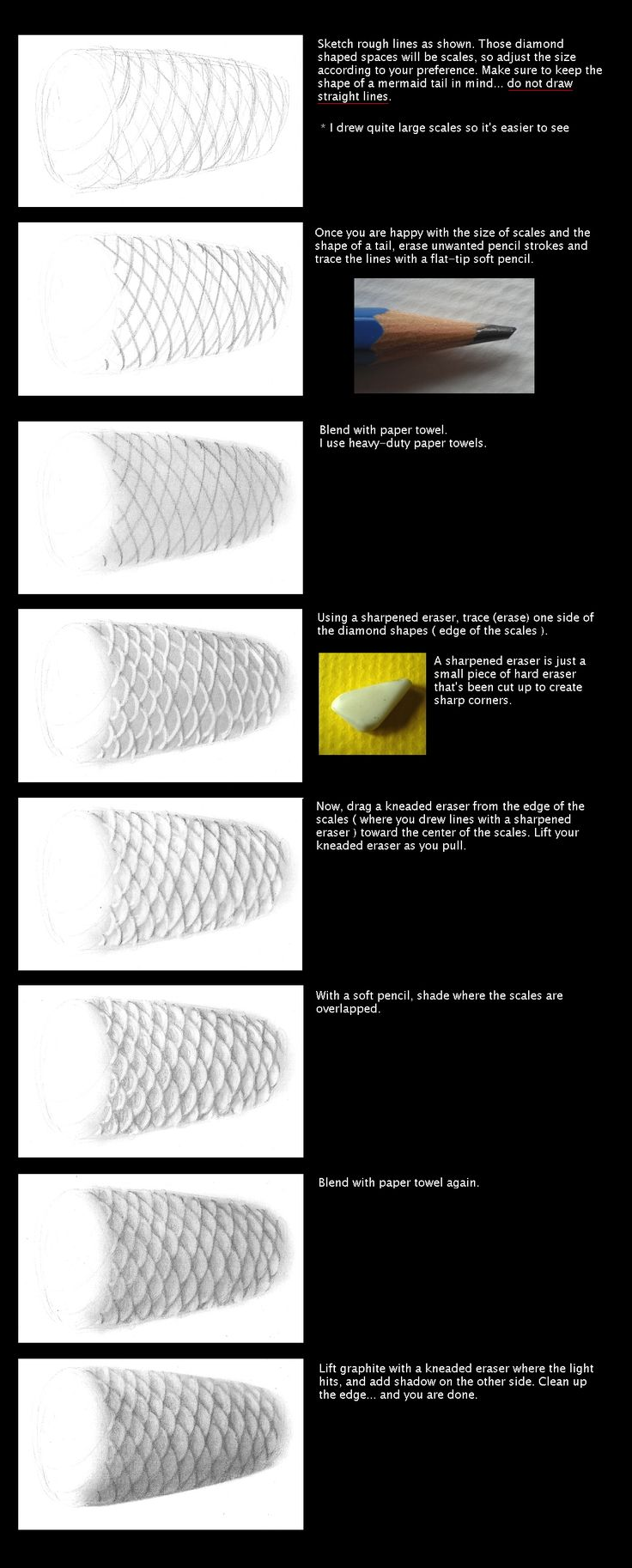 How to draw Mermaid Scales :: by MayumiOgihara on Deviant Art :: Tutorial