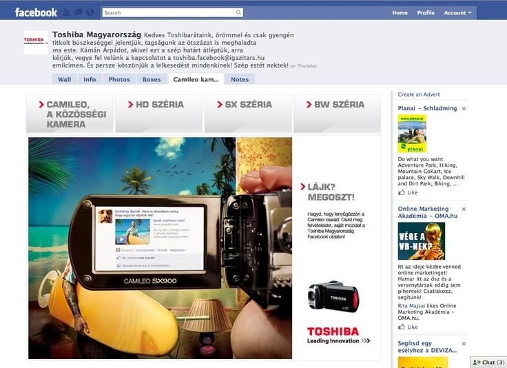 Toshiba Camileo facebook