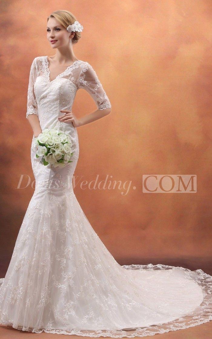 Elegant Western Deep V Neck Mermaid Lace Wedding Dress with Sleeves, 2016 wedding dresses styles #DorisWedding #lace #wedding #dresses #beautiful #wedding #dresses #affordable #wedding #dresses #wedding #dress #styles #unique #wedding #dresses