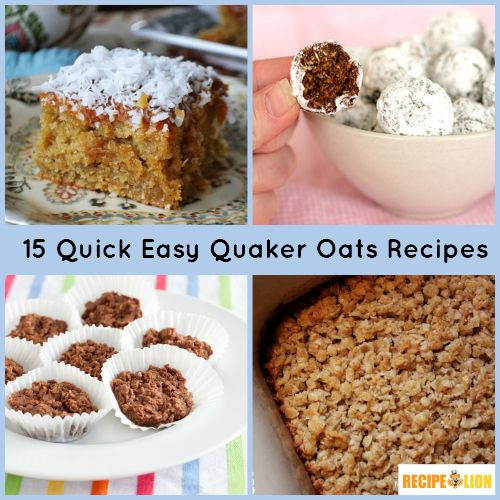 15 Quick Easy Quaker Oats Recipes - The perfect way to use up extra oats! Cookie recipes, cake recipes and more.