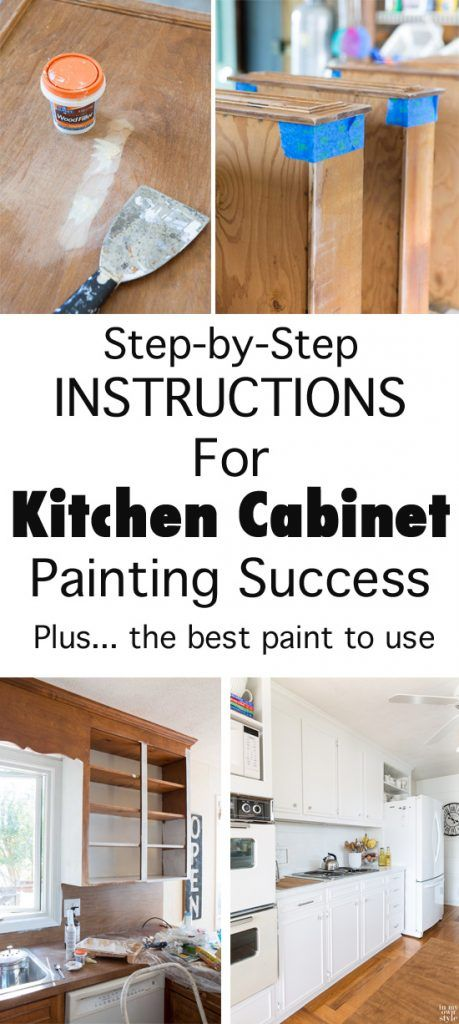 Step by step instructions for Kitchen Cabinet painting success, plus what is the best paint to use.