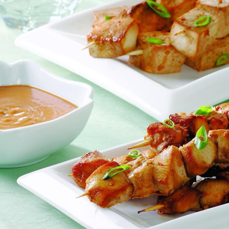 Classic Indonesian fare, satays (or satés) are skewers of broiled or grilled marinated meat or fish. This flexible recipe works with tofu or chicken. If serving a group with some vegetarians and some meat eaters, prepare 12 ounces of chicken and 10 1/2 ounces of tofu and marinate separately.