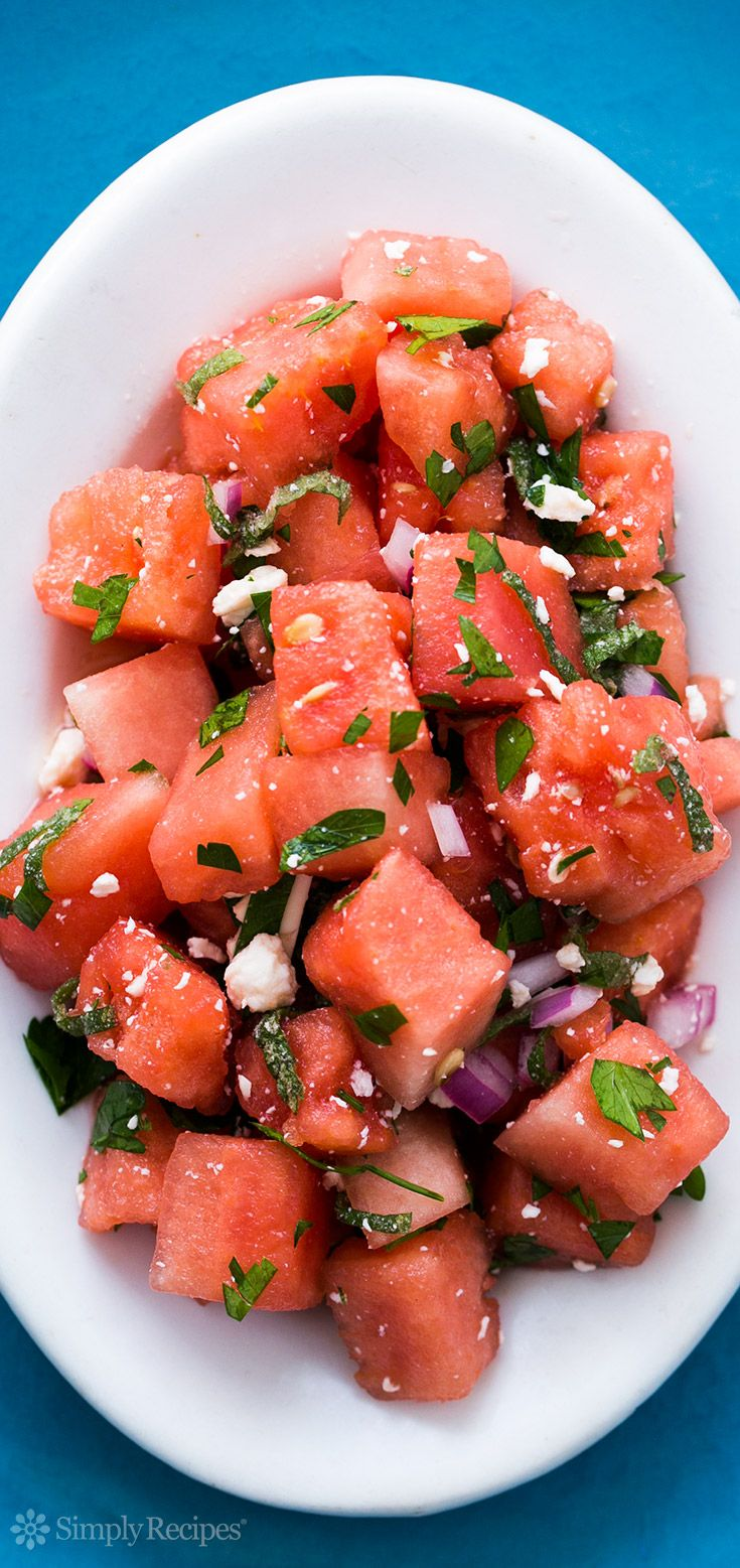 Watermelon Salad with Feta and Mint ~ Watermelon salad with feta cheese, lime, mint, and parsley. So refreshing! Perfect for a #FourthOfJuly potluck! ~ SimplyRecipes.com